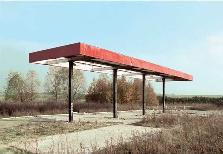 "Eric Tabuchi photographed twentysix abandoned gasoline stations in France. He was inspired by ""Twentysix Gasoline Stations"" by Ed Ruscha, who travelled along Route 66 in the 60′s and made 26 photographs."