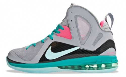 "NIKE LEBRON 9 P.S. ELITE ""SOUTH BEACH"" While it may feel like it was years ago, the ""South Beach"" craze is one not too far in the past. ""Galaxy,"" ""NERF,"" and other colorways may have stolen spotlights of late, but customizers and overall sneaker fanatics in general can still appreciate a hot shoe in a hyped color scheme when they see it. The LeBron 8 may have released first close to home, but the Nike LeBron 9 P.S. Elite ""South Beach"" has another path. Retailers like Titolo have already begun stocking the shoe, which should see a release stateside on June 2nd."