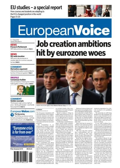 Tomorrow's front page today (12-18 April). Lead article: Job creation ambitions hit by eurozone woes