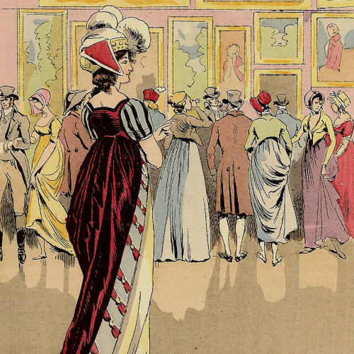 "1877 pochoir print, ""The Picture Exhibition at the ""Salon"", 1800"" … off to a new home ♥"