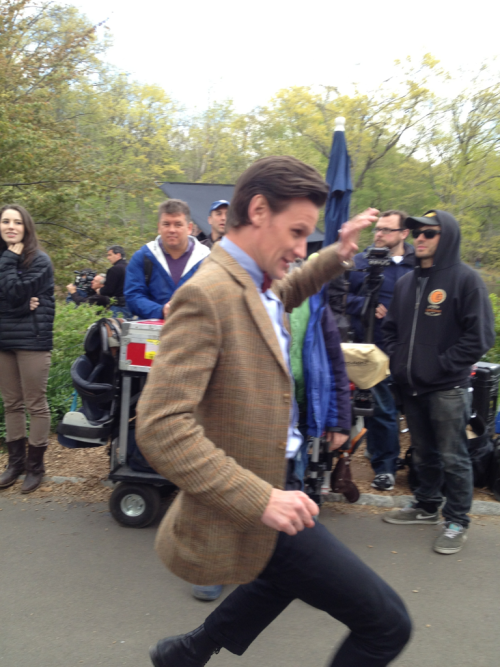 doctorwho:  Matt on the Central Park shoot savvyliterate:  Whoosh! And the Doctor comes running past us.   Matt For The Win