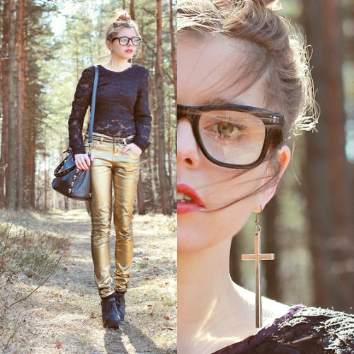 metallic jeans & cross earrings (by Nesairah Nesstyle)