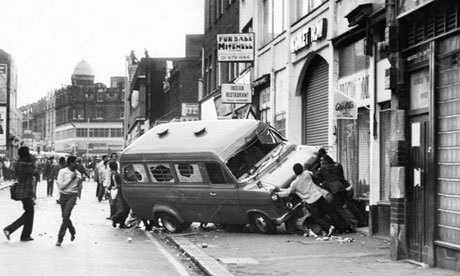 "ON THIS DAY: ""Bloody Saturday"" - The 1981 Brixton riot (or Brixton uprising) was a confrontation between the Metropolitan Police and protesters in Lambeth, South London, England, between 10 and 12 April 1981. The main riot on 11 April, dubbed ""Bloody Saturday"" by TIME magazine, resulted in almost 280 injuries to police and 45 injuries to members of the public; over a hundred vehicles were burned, including 56 police vehicles; and almost 150 buildings were damaged, with thirty burned. There were 82 arrests. Reports suggested that up to 5,000 people were involved."