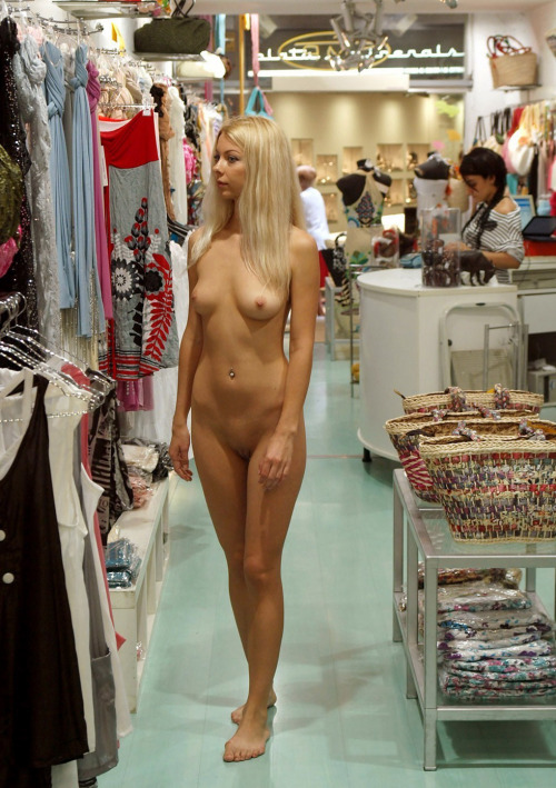 terracottainn:  Naked shopping for clothes is much easier and more fun. We have a small boutique at my nudist resort where we sell see through robes, tops, beach wraps, etc. We NEVER require people to be dressed when they try on our clothes. Spend more time naked, you'll love it. MC http://sunnyfun.com