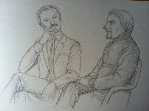 khorazir:  Mark Gatiss chatting with Gawn Grainger at the Donmar Warehouse today. Pity it was over so soon. I could have listened to them for hours.  Oh my! I was probably sitting next to you!!