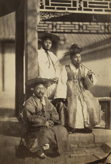 "One of the earliest photographs depicting yangban Koreans, taken in 1863. The yangban were part of the traditional ruling class or nobles of dynastic Korea during the Joseon Dynasty (July 1392 – October 1897). The yangban were either landed or unlanded aristocracy who comprised the Korean Confucian idea of a ""scholarly official."""