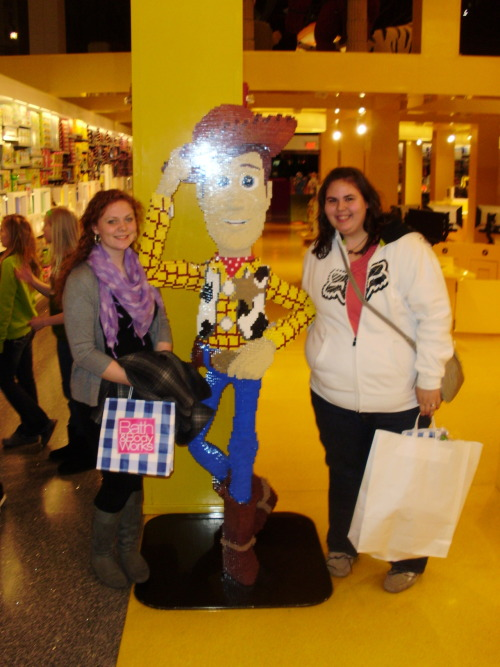 At the Mall of America, Lego Land has created a life size Woody from Toy Story out of Legos!! The statue is so detailed and so true to the character himself that underneath his foot it says Andy!! :)  Everytime I go to the mall I have to take a new picture with him cause I don't know when he will be gone! :(  My best friend, Jessie is with me, and looks like she jumped right out of the movie.  With her bright red hair, southern accent, and personality, she lives the real life of Jessie.  Look how well she looks standing next to Woody! :)
