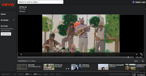 "VEVO featured Matt Singer's ""All This Joy"" music video on their Indie Playlist today. Super cool! Take a look: ATJ on VEVO"