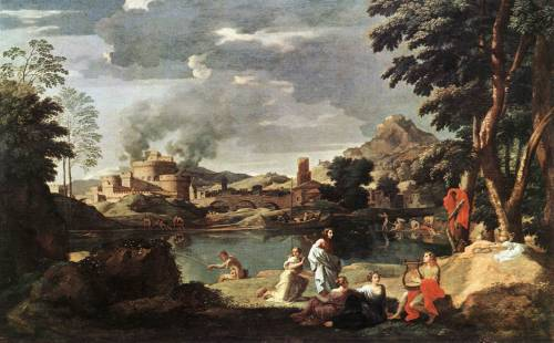 everythingdainty:  Orpheus and Euridice - Nicolas Poussin Orpheus is from ancient Greek religion and myth, and the one he loved was Euridice.  The story goes that during their wedding night, Euridice steps on a snake, thus killing her.  Orpheus wanting her back goes to the underworld and plays his music to persuade Pluto.  Pluto, of course, is touched by his music and sheds tears of iron; therefore, allows Orpheus to reunite with his lover Euridice, but he mustn't look at her until he leaves the underworld.  Sadly, out of over anticipation, Orpheus turns around right before he reaches the surface and Euridice's spirit fades back into the darkness..never to be seen again.