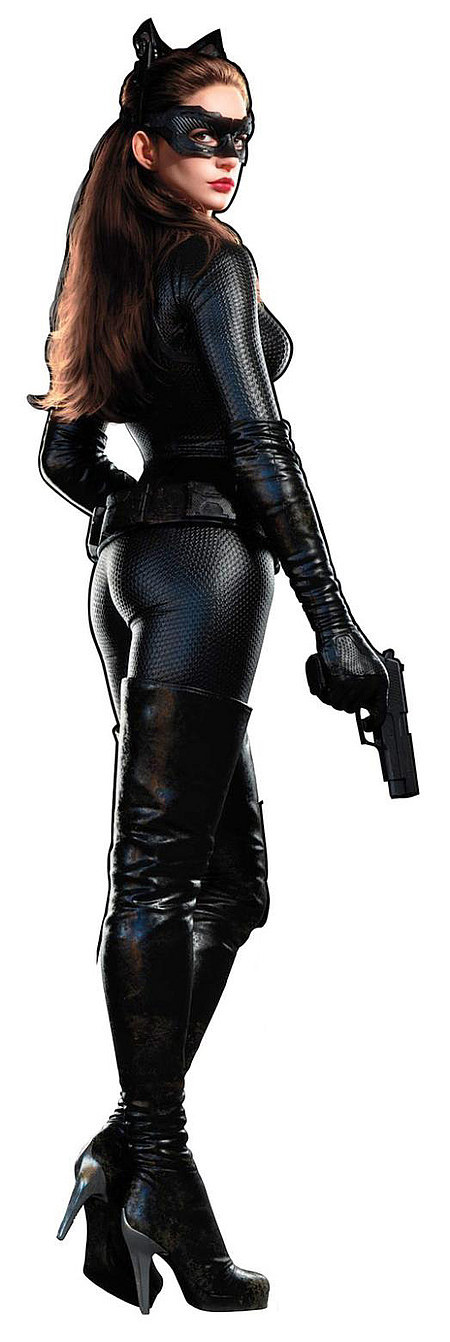 "Anne Hathaway as Selina Kyle, better known as ""Catwoman"""