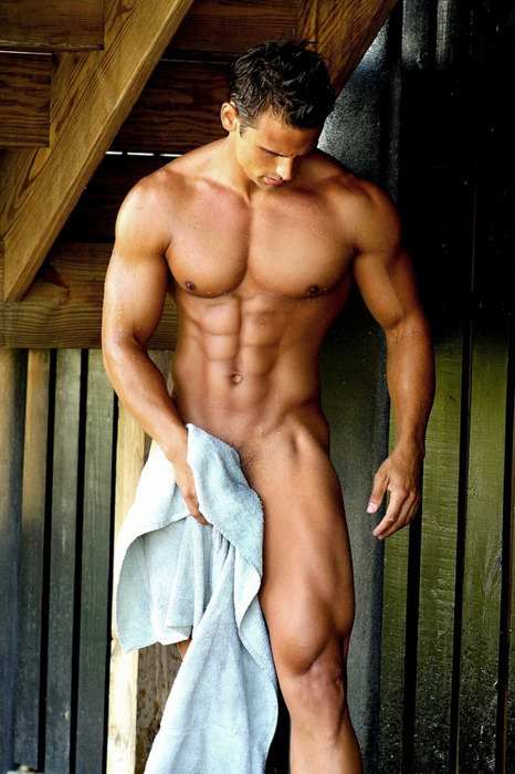 Muscle stud towel-dries