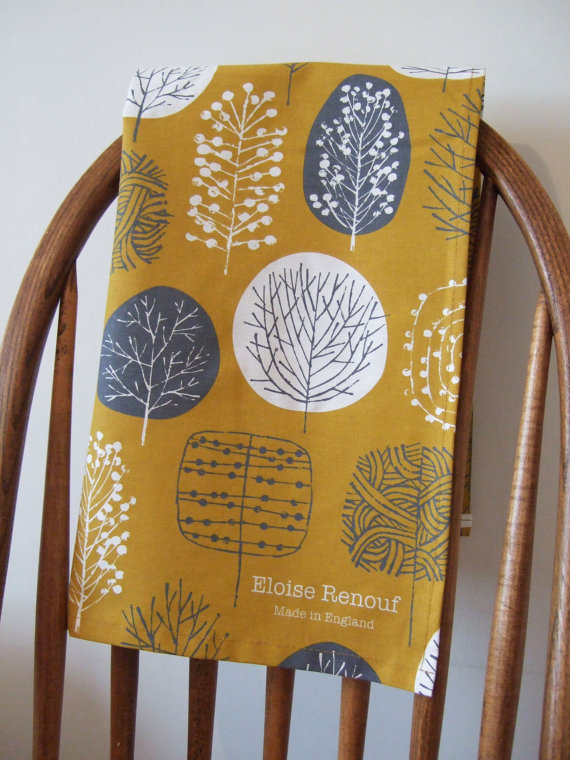 (via Trees Tea Towel in Mustard and Charcoal by EloiseRenouf on Etsy)