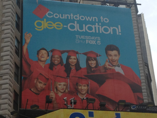 rosemaryfinchs:  New glee poster in times square