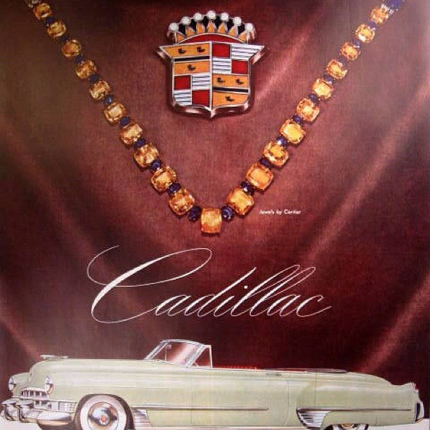Cartier x Cadillac 1950 Vintage Collab #cartier #ad #artwork #photography #luxury #autoshow #cars  (Taken with instagram)