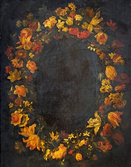Unknown Dutch artist, Garland of flowers (17th century)