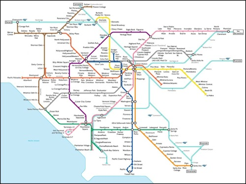 "tothemaxxx:  Numan Parada's ""fantasy public transit map"" for Los Angeles, 2007. spiegelman:  This is a thing of beauty.   What a nice future this would be for Los Angeles!"
