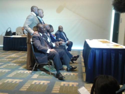 cognitivedissonance:  Trayvon Martin's family watches the announcement of a second degree murder charge against George Zimmerman. (From @trymainelee)  Live video: Family of Trayvon Martin and Rev. Al Sharpton speaking now.