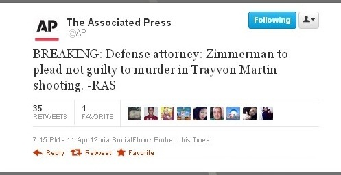 Zimmerman's defense attorney says Zimmerman to plead not guilty to murder. —AP