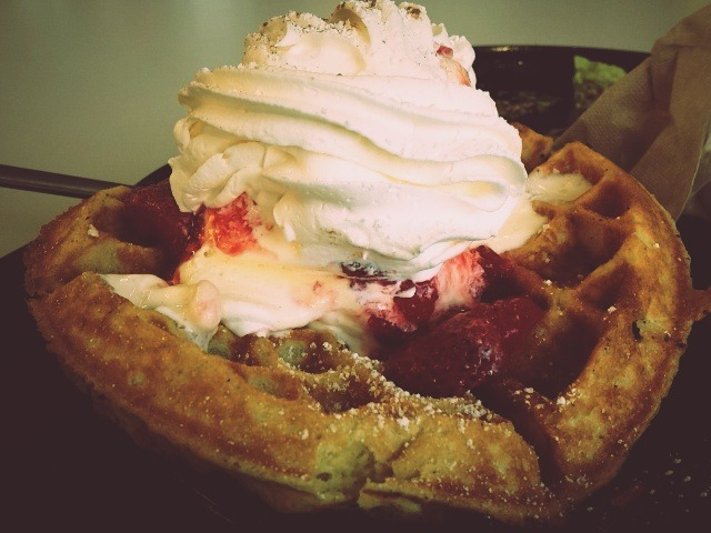 Waffles and ice cream. Yes.
