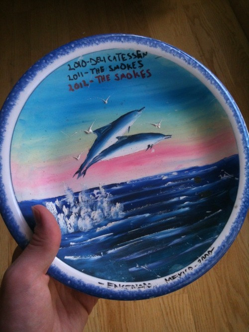 This gorgeous piece of porpoise themed plateware is the prize for the annual UCBLA team bowling challenge— a prize that my improv group has now won two years running. It was really important that we defend our title, because this is the only plate that Joe Wengert keeps in his bachelor apartment - so this means another year he'll have something off which to eat his Claim Jumper frozen dinners.