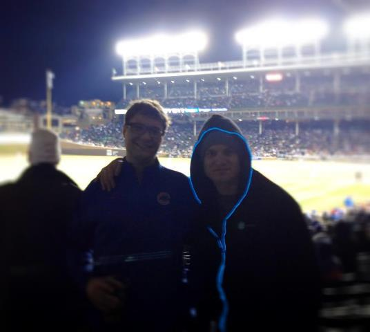 Chicago Cubs game last night with Cubs blue electricMVMT hoodie. Also plan to make blue with red lights.  And in vest form for the hotter months.  37 degrees at Wrigley last night so we watched most of the game at the bar across the street.