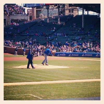 John Grisham seen throwing out the first pitch at today's Cubs game. The Cubs may have lost, but we all win with Grisham's new baseball themed novel! CALICO JOE available now! (Yes that was very cheese-ball.)