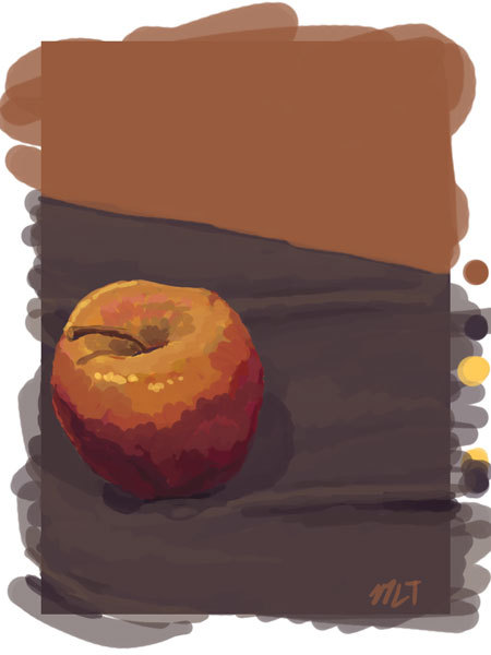 study of an apple from life. Trying to improve my color comprehension. So i did as little blending as possible and just painted what I saw. Pretty good exercise.