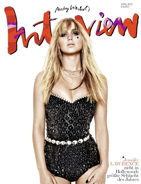 Jennifer Lawrence on the cover of Interview (Germany) #1 - This corseted bodysuit is AMAZING. #2 - She's a billion times hotter than Kristen Stewart could ever WISH to be. #3 - Hunger Games #FTW