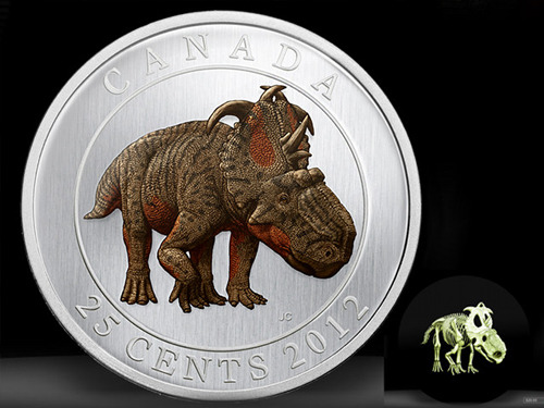 Canadian quarter features dinosaur with a glow in the dark skeleton  STEP UR SHIT UP, U.S. TREASURY MINT