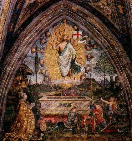 "signum-crucis:  Resurrection — Pinturicchio Take up your cross, therefore, and follow Jesus, and you shall enter eternal life. He Himself opened the way before you in carrying His cross, and upon it He died for you, that you, too, might take up your cross and long to die upon it. If you die with Him, you shall also live with Him, and if you share His suffering, you shall also share His glory. —""The Royal Road of the Holy Cross"", The Imitation of Christ by Thomas à Kempis (1380-1471)"