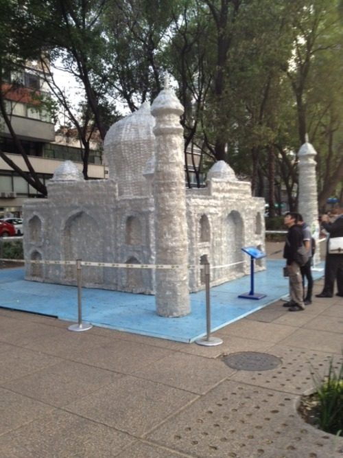 The Taj Majal made from plastic water bottles. Mexico city street art