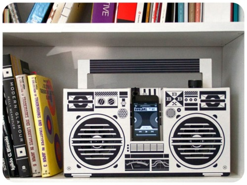 "Something For the Retro Lover: Looking for stereo to hookup your iPhone, iPod, mp3 to? If you're on a budget and like the retro look, the Berlin Boombox is perfect for you! This cool boombox is made nearly entirely of cardboard, and can be connected to devices via its 3.5mm headphone jack. The Berlin Boombox is currently in its funding period; so for a $50 pledge you can pre-order a boombox, $100 for a ""limited edition"" two-tone box, $250 for a custom designed model. For more information and a video of the Berlin Boombox click here."