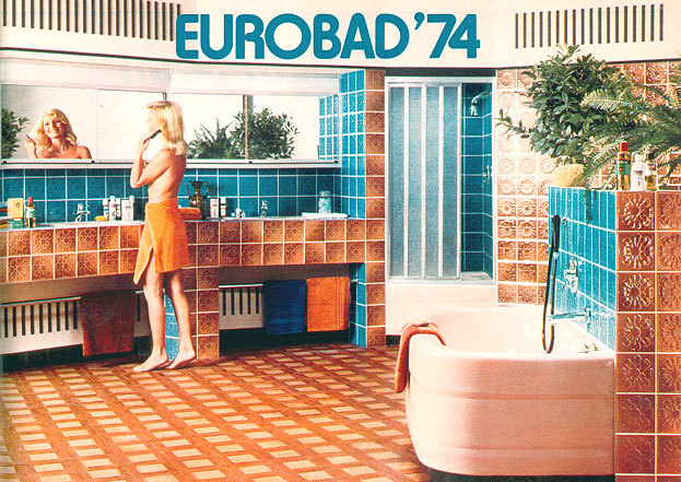 superseventies:  1974 Scandinavian bathroom design.