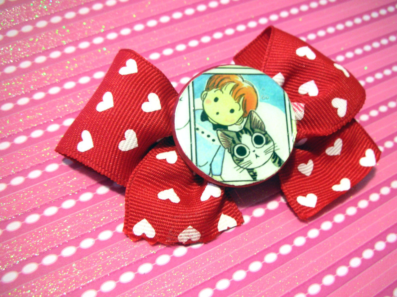 Chii's Sweet Home Manga Hair Bow Original Geekery FREE USA SHIPPING http://www.etsy.com/listing/97345856/chiis-sweet-home-manga-hair-bow-original
