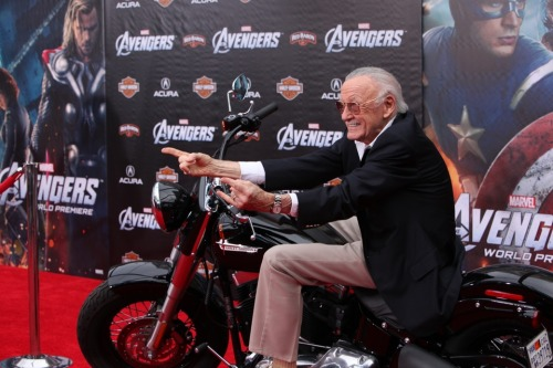 Stan Lee on a Harley-Davidson at the red carpet world premiere of Marvel's The Avengers!