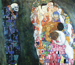 "buttflowers:  antisocialcunterfly:  fetishofsilence:  Gustav Klimt Death and Life  1910 Klimt's large painting features not a personal death but rather merely an allegorical Grim Reaper who gazes at ""life"" with a malicious grin. This ""life"" is comprised of all generations: every age group is represented, from the baby to the grandmother, in this depiction of the never-ending circle of life. Death may be able to swipe individuals from life, but life itself, humanity as a whole, will always elude his grasp. The circle of life likewise repeats itself in the diverse, wonderful, pastel-coloured circular ornaments which adorn life like a garland. Gustav Klimt described this painting, which was honoured with a first prize at the 1911 International Art Exhibition in Rome, as his most important figurative work. Even so, he seems to suddenly no longer have been satisfied with this version in 1915, for he then began making changes to the painting—which had by that time long since been framed. The background, reportedly once gold-coloured, was made grey, and both death and life were given further ornaments. Standing before the original and examining the left interior edge of Josef Hoffmann's frame for the painting, one can still discern traces of the subsequent over-painting, which was done by Klimt himself.  Klimt. Too good.  ilu klimt"