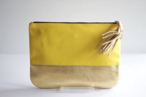 COLORBLOCK Twotoned Leather Clutch in Yellow and Gold by VellePurse