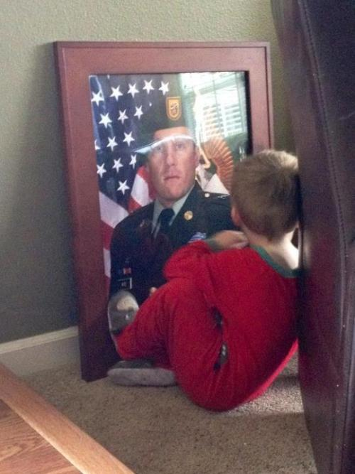 "Traci Wise: ""I found my son sitting having a moment with his daddy (SFC Benjamin Wise) the other day. We lost him January 15 in Afghanistan… we cannot forget about the incredible loss these children must undertake."""