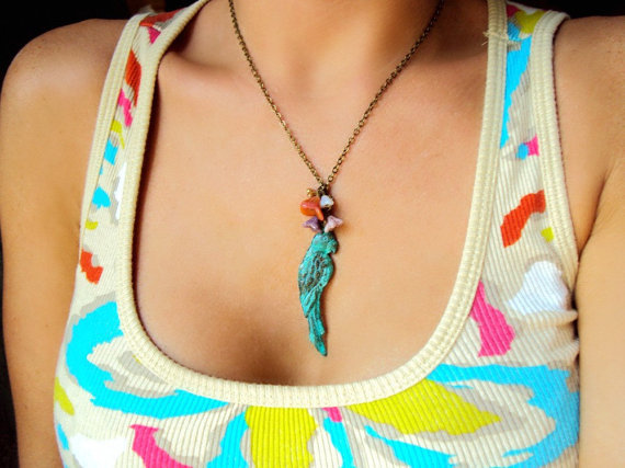 (via Verdigris teal parrot and czech glass flower by BeadinBabe on Etsy)