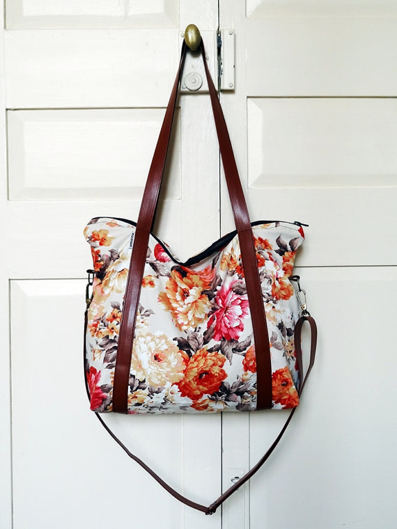 (via Etsy Transaction - Recycled diaper bag, orange floral curtain, three pockets, adjustable straps)