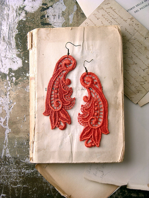 (via lace earrings CALLISTA tangerine by whiteowl on Etsy)