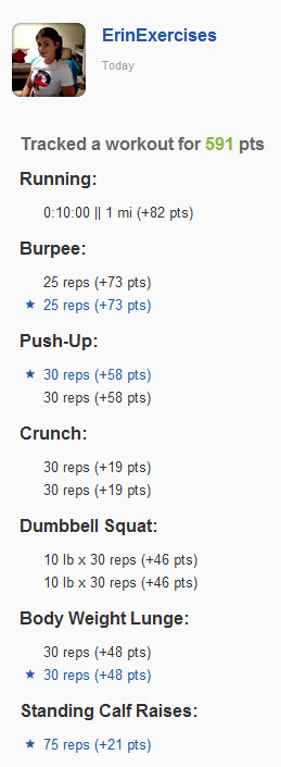 Workout 4-11, also the Spartan WOD (recovering from the half marathon, I skipped the mile run in between, but I added some calf raises instead)