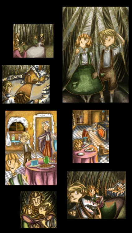 Hansel and Gretel digital illustrations I did last summer. (: