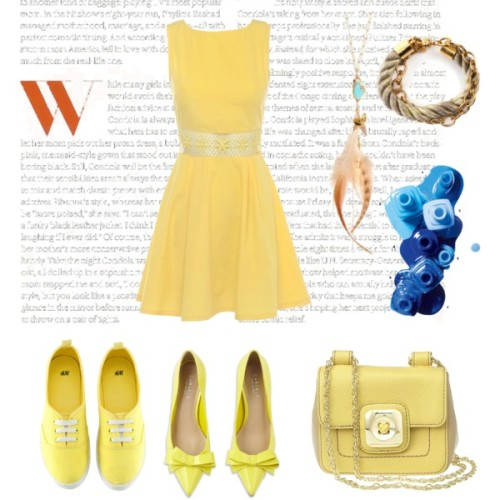 Lemon Tarts by cynthia-coffield featuring a blue nail polishCrochet dress, $34Carvela summer shoes, £120H&M rubber soled shoes, £7.99Nine West cross body shoulder bag, $5918k jewelry, $350Orly Genger twist jewelry, $94