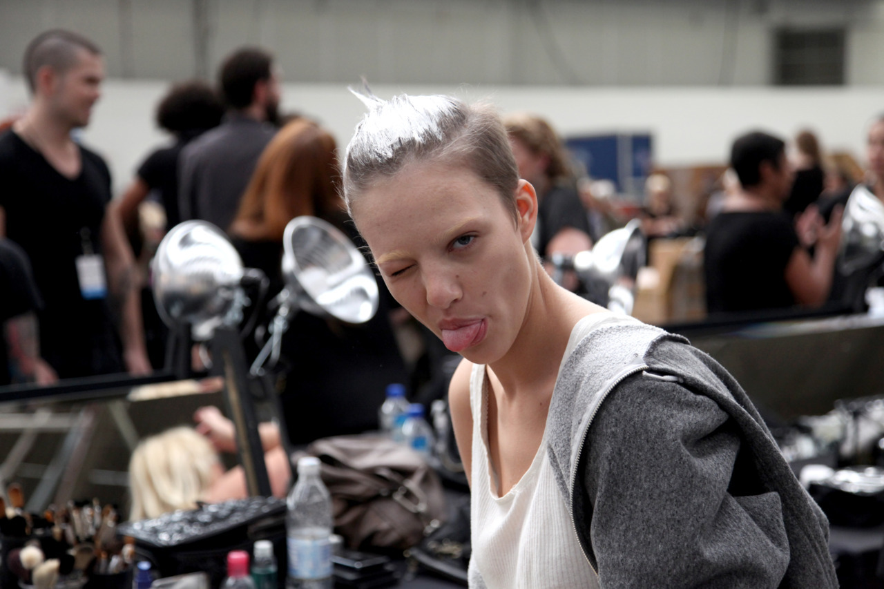 Eliza Cummings, backstage Alexander Wang. 2010
