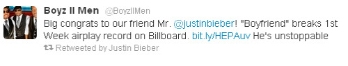 'Boyfriend' Breaks First-Week Airplay Record on Billboard Mainstream Top 40 Chart. Congrats JB! [Full Article�Here]