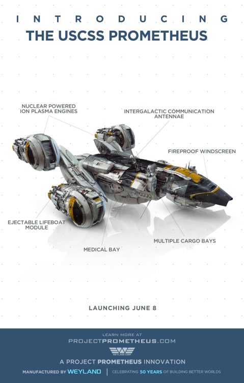 Prometheus - high-rez image of the USCSS Prometheus Ship from the upcoming movie which is a loose pre-prequel to Alien!!!