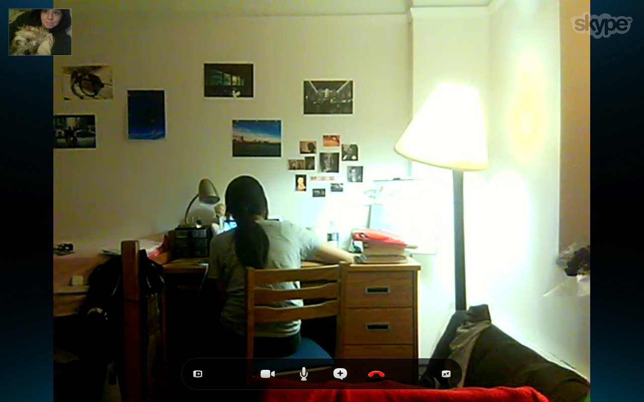 as finn and i secretly skype with jenn's foreign roommate