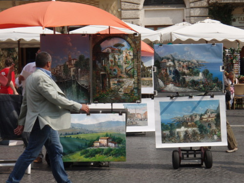 Paintings for sale at market in Rome