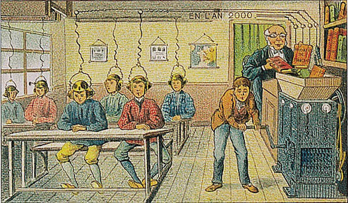 Villemard 1910 - En L'An 2000 - At School (by amphalon) This is a vision of online education firmly rooted in the paradigm of the lecture in which knowledge is poured into passive and empty vessels.
